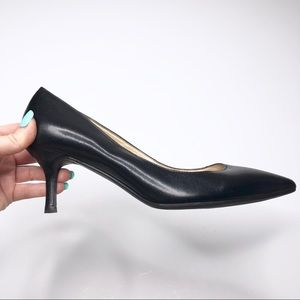 Marc Fisher Black Leather Pointy Toe Pump Heels